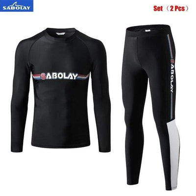 Men Set (2 pcs) / M SABOLAY Rash Guard Pants / Shirt Set  -  Cheap Surf Gear