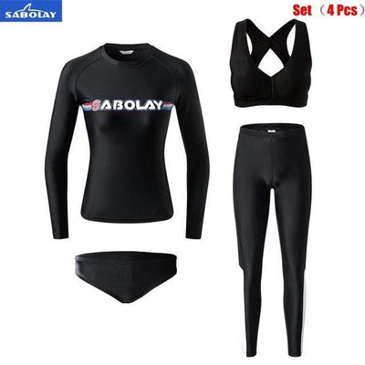 Women Set (4 pcs) / M SABOLAY Rash Guard Pants / Shirt Set  -  Cheap Surf Gear