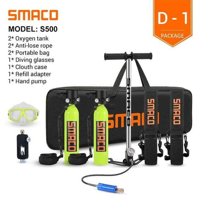 D-1 SMACO Diving Oxygen Tank With Pump  -  Cheap Surf Gear