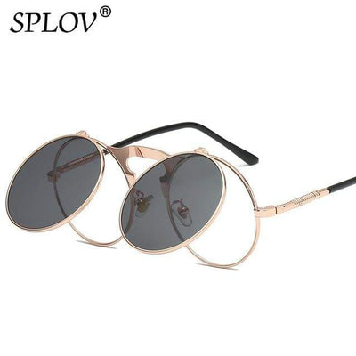 C01GoldRoseBlack SPLOV Round Steampunk Sunglasses  -  Cheap Surf Gear