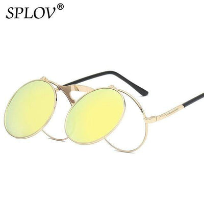 C02GoldYellow SPLOV Round Steampunk Sunglasses  -  Cheap Surf Gear