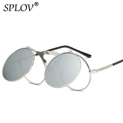C03SilverSilver SPLOV Round Steampunk Sunglasses  -  Cheap Surf Gear