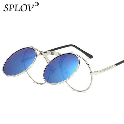 C04SilverBlue SPLOV Round Steampunk Sunglasses  -  Cheap Surf Gear