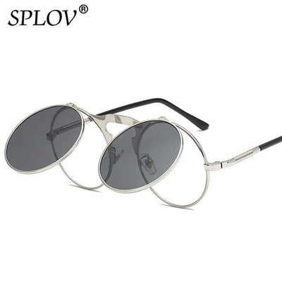 C05SilverBlack SPLOV Round Steampunk Sunglasses  -  Cheap Surf Gear