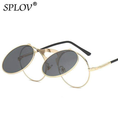 C06GoldBlack SPLOV Round Steampunk Sunglasses  -  Cheap Surf Gear