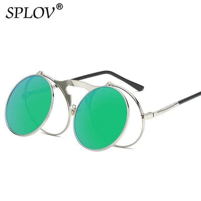 C07SilverGreen SPLOV Round Steampunk Sunglasses  -  Cheap Surf Gear