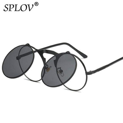 C08BlackBlack SPLOV Round Steampunk Sunglasses  -  Cheap Surf Gear