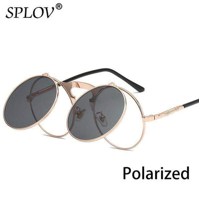 C09GoldRoseBlackP SPLOV Round Steampunk Sunglasses  -  Cheap Surf Gear