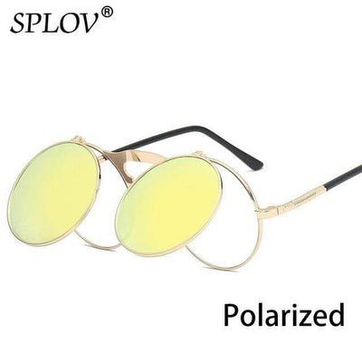 C10GoldYellowP SPLOV Round Steampunk Sunglasses  -  Cheap Surf Gear