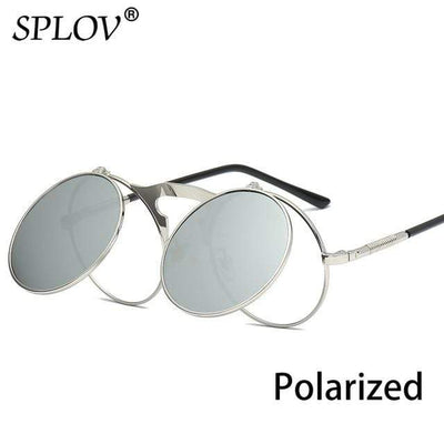 C11SilverSilverP SPLOV Round Steampunk Sunglasses  -  Cheap Surf Gear