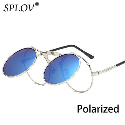C12SilverBlueP SPLOV Round Steampunk Sunglasses  -  Cheap Surf Gear