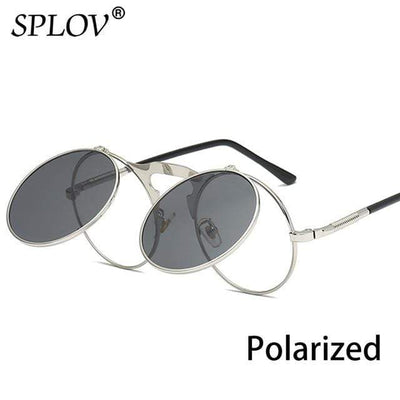 C13SilverBlackP SPLOV Round Steampunk Sunglasses  -  Cheap Surf Gear