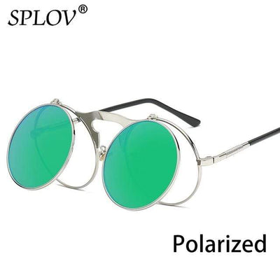 C15SilverGreenP SPLOV Round Steampunk Sunglasses  -  Cheap Surf Gear