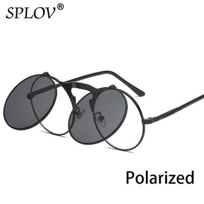 C16BlackBlackP SPLOV Round Steampunk Sunglasses  -  Cheap Surf Gear