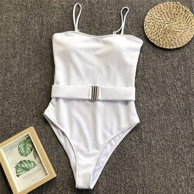 1046-3 / S SWMMER LIKET Buckle White One Piece Swimsuit  -  Cheap Surf Gear