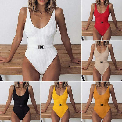 SWMMER LIKET Buckle White One Piece Swimsuit  -  Cheap Surf Gear