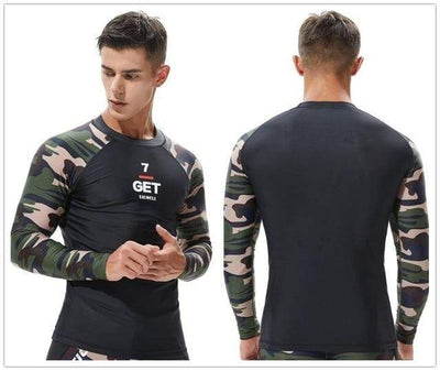 T18 Greem Camo / S TAUWELL Mens UV Rash Vest  -  Cheap Surf Gear