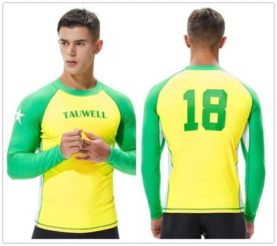 T20 Yellow / S TAUWELL Mens UV Rash Vest  -  Cheap Surf Gear