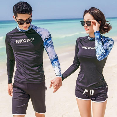 TUBE TREE Long Sleeve Rash Guard (With Shorts)  -  Cheap Surf Gear