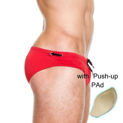 red with pad / M UXH Sexy Swim Trunks  -  Cheap Surf Gear