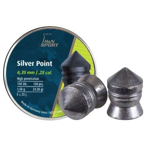 H&N Silver Point .25 Cal, 24.38 Grains, Pointed, 150ct