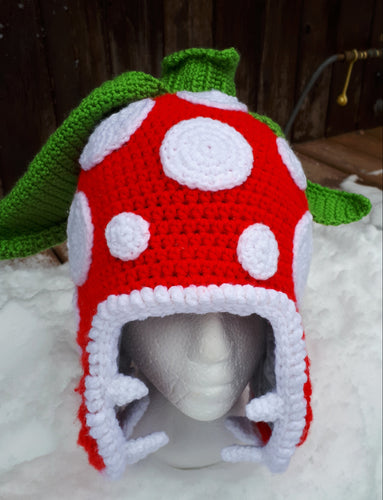 Piranha Plant Hat (Crochet with Fleece Liner) -Medium/Large Adult