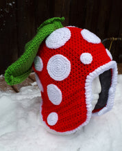Load image into Gallery viewer, Piranha Plant Hat (Crochet with Fleece Liner) -Medium/Large Adult