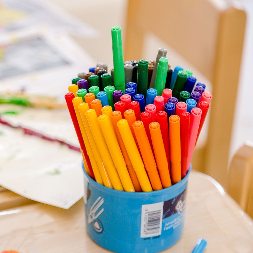 A pot of colourful felt tip pens at Spotted Frog Preschool