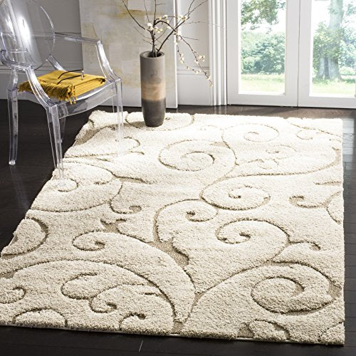 "Safavieh Florida Shag Collection SG455-1113 Scrolling Vine Graceful Swirl Area Rug, 5' 3"" x 7' 6"", Cream/Beige"