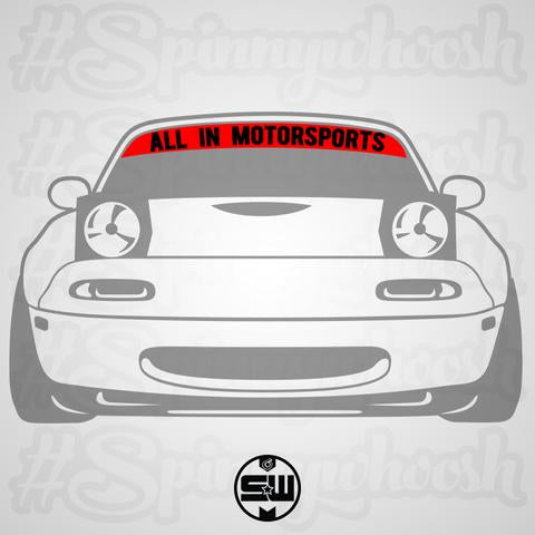 """ALL IN MOTORSPORTS"" Windshield Banner (50 Inch Wide Windshield Options)"