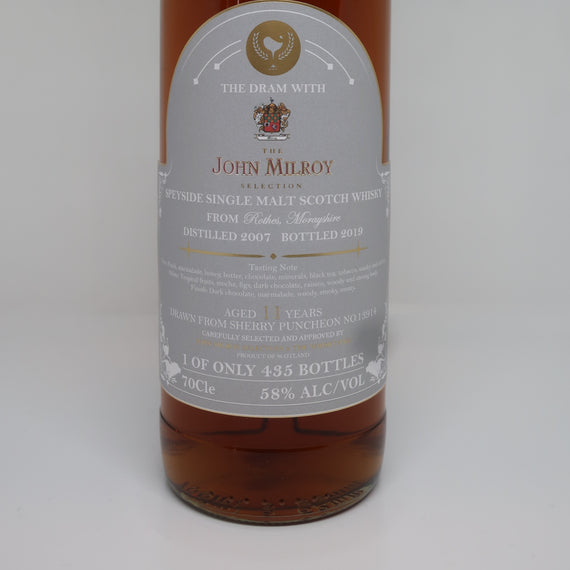 THE WHISKYFIND & JOHN MILROY'S SELECTION GLENROTHES 2007 11YO SHERRY PUNCHEON
