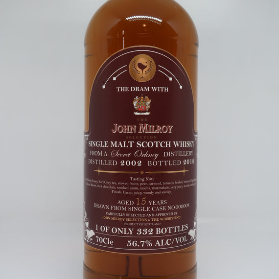 THE WHISKYFIND & JOHN MILROY'S SELECTION SECRET ORKNEY (HIGHLAND PARK) 2002 15YO
