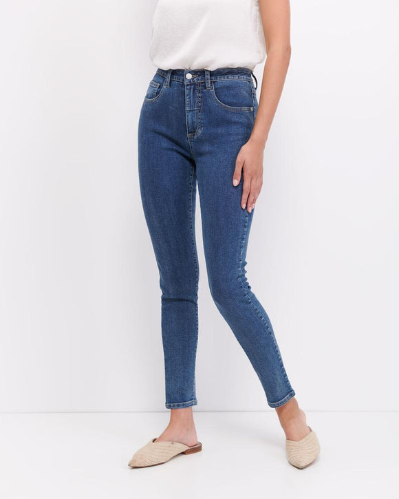 Audrey High Rise Jean - Blue Wash