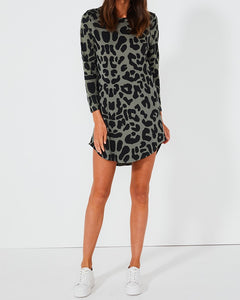 Bronx Longsleeve Dress - Sage Leopard