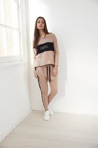 Kenji Comeback Pants - Blush with Black Stripe