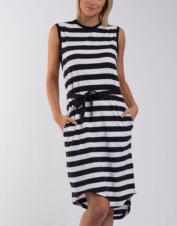 Jimbaran Bay Dress - Black and White Stripe
