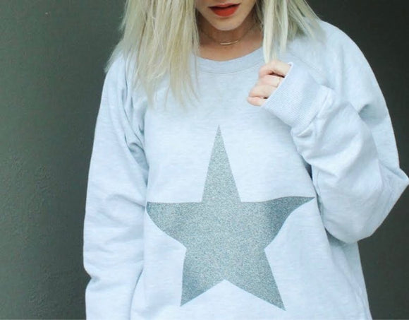 Glitter Star Sweat - Grey Marle
