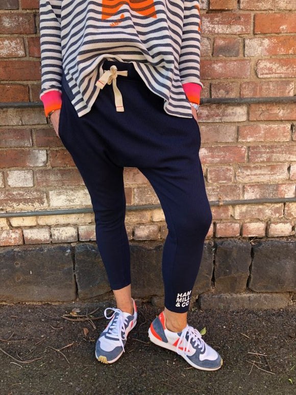 Slouchy Waffle Pant - Navy