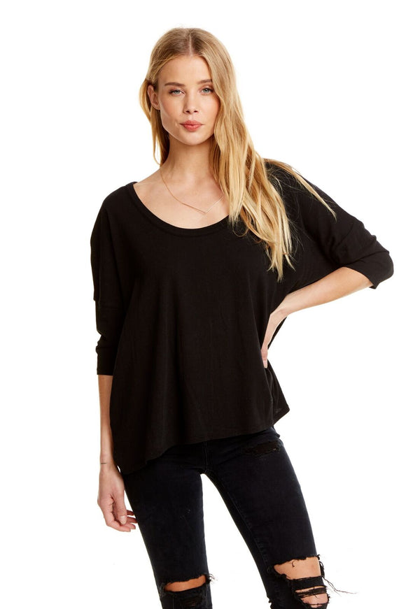 S/S Boxy Seamed Back Tee - Black