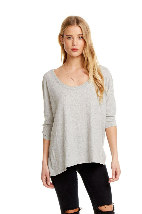 S/S Boxy Seamed Back Tee - Grey
