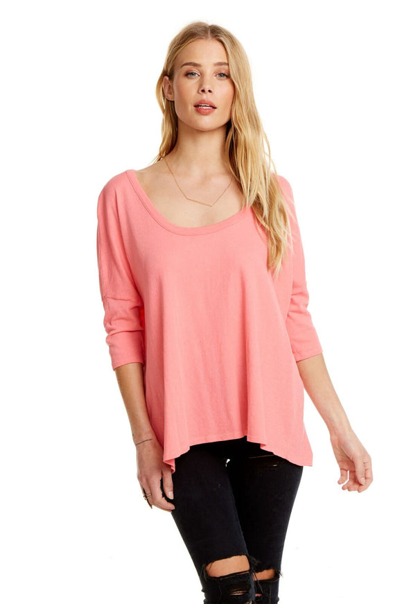 S/S Boxy Seamed Back Tee - Flamingo