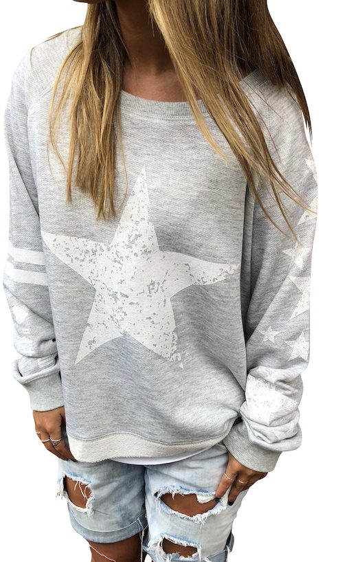 Stars & Stripe Sweat - Grey Marle