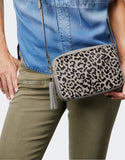 Grey Leopard Pony Hair Crossbody Bag