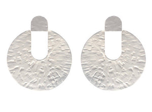 Lidia Hammered Disc Earrings - Soft Matte Silver