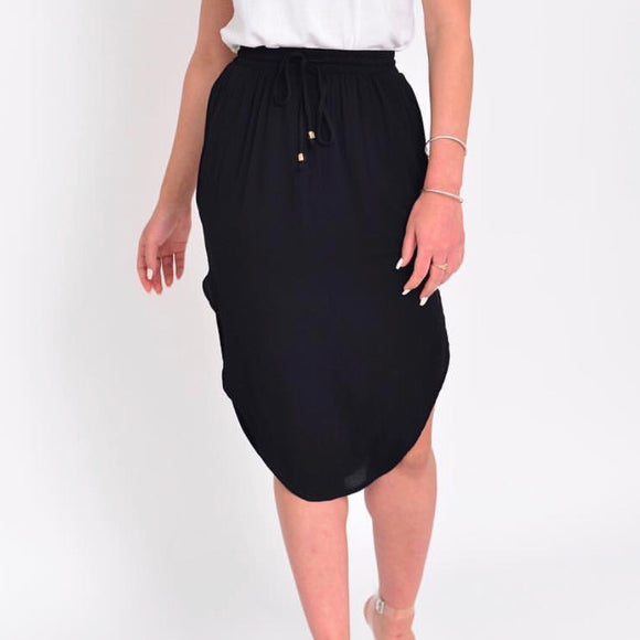 Melody Elastic Waist Skirt - Black