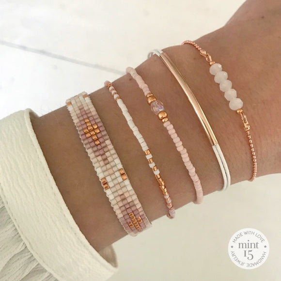 Soft Pink & White Bracelet Set - Rose Gold