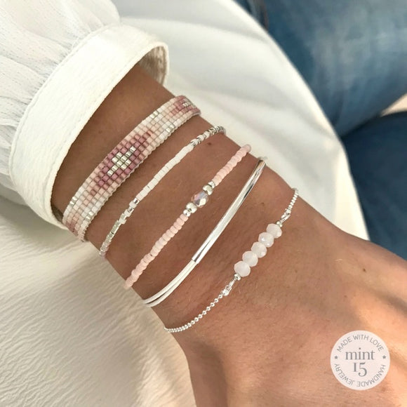 Soft Pink & White Bracelet Set - Silver