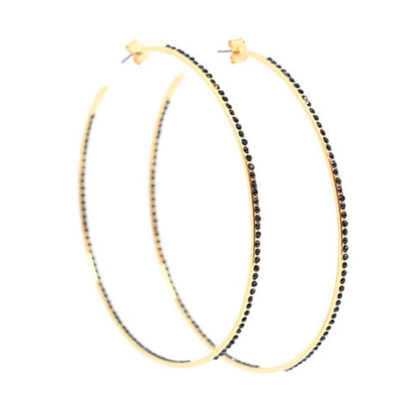 Monalita Statement Hoops - Soft Gold/Black Diamonte