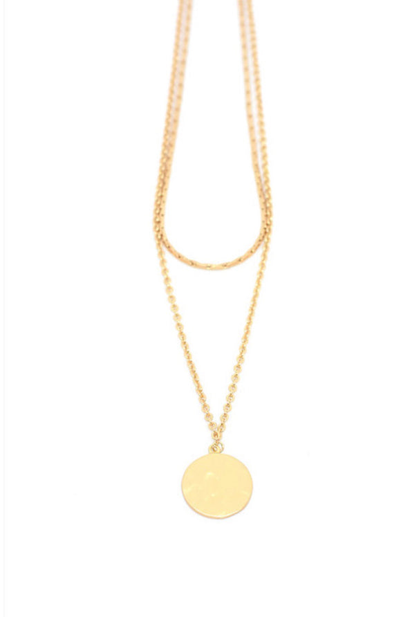 Lidia Double Necklace - Soft Matte Gold