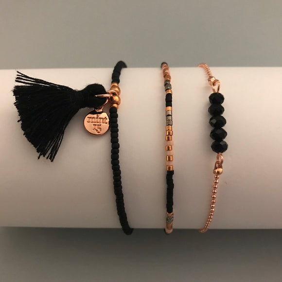 Black Sparkle Bracelet Set - Rose Gold